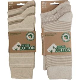 Art. 58061001 Mode sokken Bio Cotton  Multi Beige 6-pack