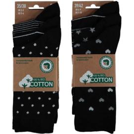 Art. 58062001 Fashion Sokken Vrouw Bio Katoen Multi Black 6-pack
