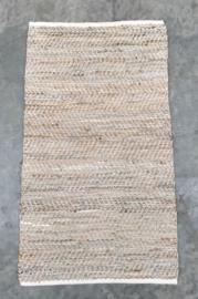 Vloerkleed 200x300 leer & jute licht beige