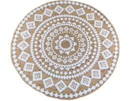 vloerkleed jute met witte print 120 cm