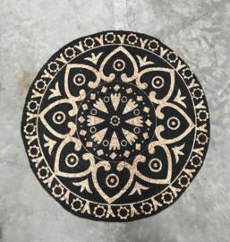 vloerkleed gevlochten jute zwarte oriental print 120cm