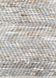 Vloerkleed 200x300 leer & jute licht grijs