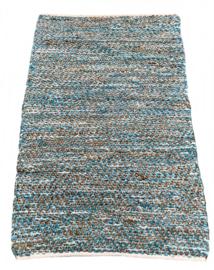 Vloerkleed 80x140 leer & jute turquoise