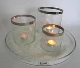 Glazen schaal met 3 windlichten van Mansion