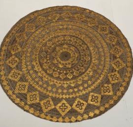 vloerkleed gevlochten jute gouden oriental print 200cm