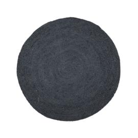 vloerkleed rond jute zwart 120cm