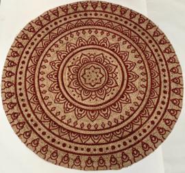 Vloerkleed rond jute henna mandala ø150cm