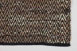 Zenza vloerkleed zwart/koper zigzag leer 140x200