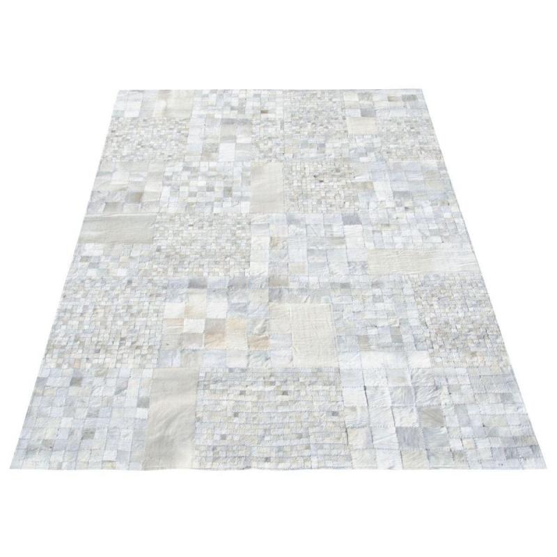 Vloerkleed huid wit blokmotief 160x230