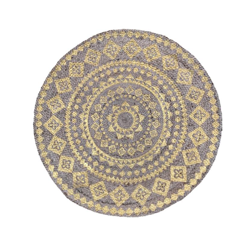 Vloerkleed rond jute goud mandala ø150cm