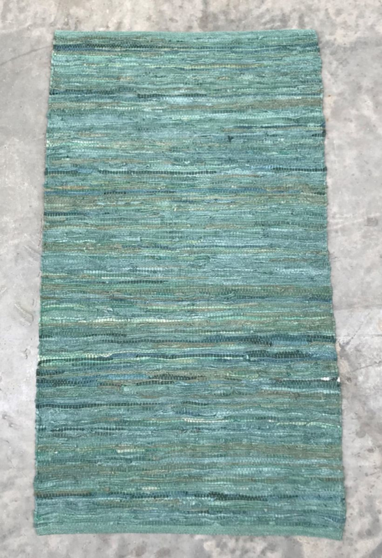 vloerkleed gerecycled leer met katoenen draad 160x230
