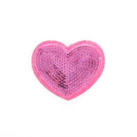 Hart pailetten roze