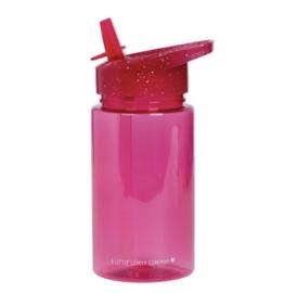 Drinkfles glitter roze