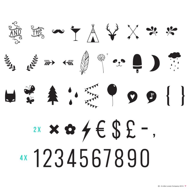 Letterset cijfers en symbolen
