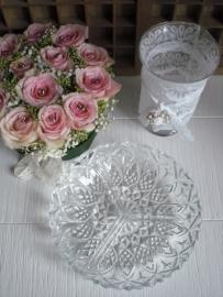 Bewerkte glazen drievaksschaal