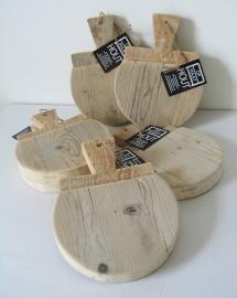 Presentatieplankjes van steigerhout rond,