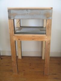 Sta-tafel van sloophout met la en extra schap