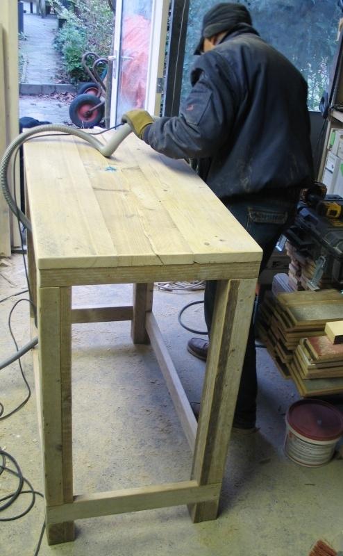 Sta-tafel van steigerhout