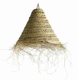 Tine K home Lamp shade in woven palmleaves with fringes, Medium