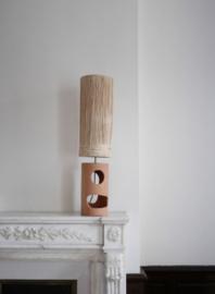 Honoré Keramische tafellamp terracotta met raffia kap