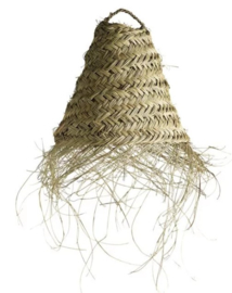 Tine K home hanglamp in woven palmleaves with fringes, maat S