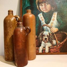 Vintage aardewerk flessen set van 3