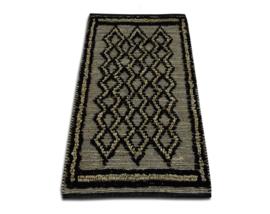 Vloerkleed jute naturel met zwart ruitpatroon  160x230 cm