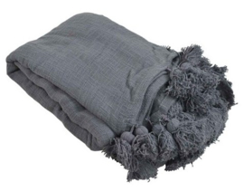 Goround Plaid Haze dark grey met pompoms