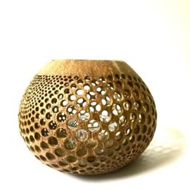 Waxinelichthouder Kokosnoot geomatric dots - Manggis