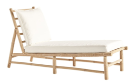 TineKhome Bamboo lounge sunbed with cushions BAMSLOWREST-WHITE
