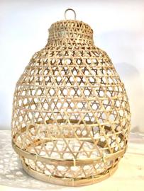 Hanenmand lamp lantaarn bamboe gevlochten S Manggis