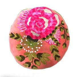 Fluwelen kussen geborduurd bloemen borduursel rond