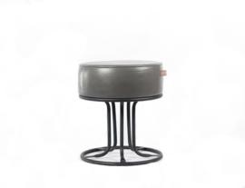 Art Sensation kruk poef zwart met leder grijs 45 cm