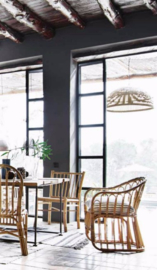 Rotan eetkamerstoel- Dining chair in rattan, with arm rest  - TineKhome