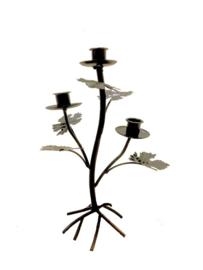 Kandelaar tak met blad zwart voor 3 kaarsen