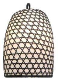 Hanenmand lamp bamboe gevlochten zwart met witte binnen afwerking