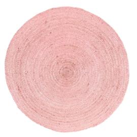 Vloerkleed gevlochten poeder roze jute ø 120cm