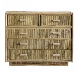 TineKhome Cabinet 5 drawers rattan natural ladekast