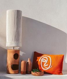 Honoré Keramische tafellamp terracotta met touw kap