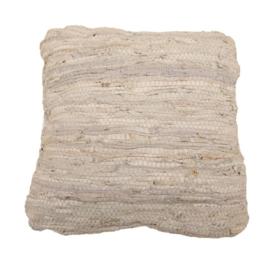 Kussen recycled leer dubbelzijdig Lichtgrijs 45 x 45 cm