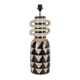Terracotta vaaslamp model 6 tribel black and white