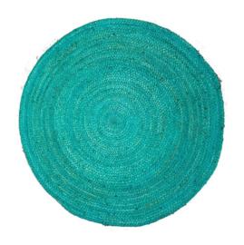 Vloerkleed gevlochten Zeeblauw jute rond 120 cm