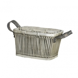 Cutlery Basket bamboo with leather handle