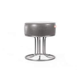 Art Sensation kruk poef industrieel met leder grijs 45 cm
