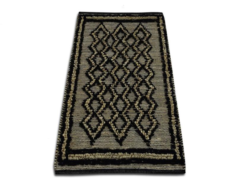 Vloerkleed jute naturel met zwart ruitpatroon  200x300cm