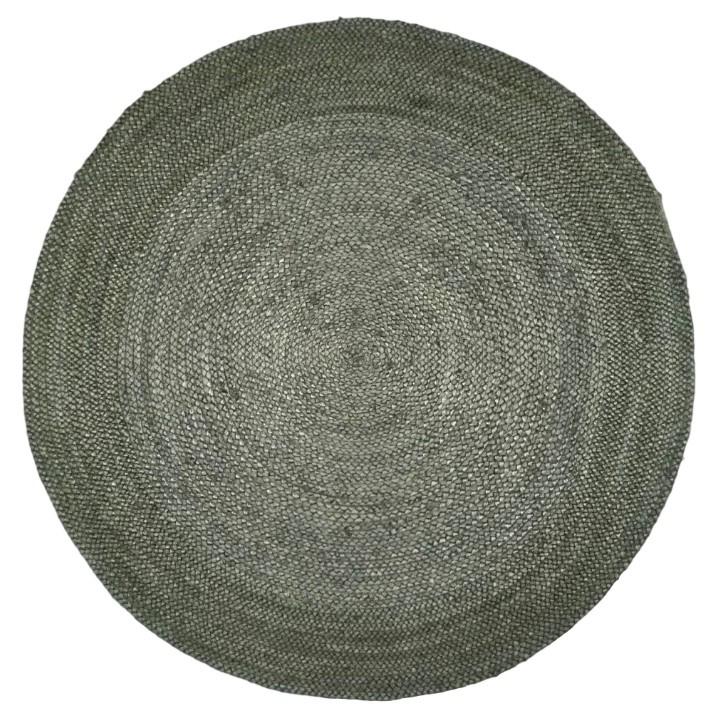 Vloerkleed gevlochten groen jute ø 200 cm