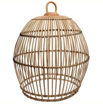 Hanenmand lamp bamboe strook  baleinen XL Manggis
