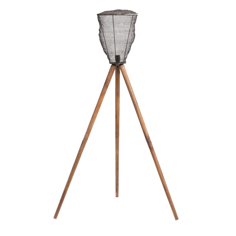 Toux Iron copper floor lamp wooden base L - PTMD