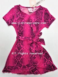 ZM5193 jurk  fuchsia dieren-print(7pcs)