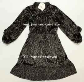 FRM015 zwart/ bronzen kleur jurk met roezelmouw (6pcs)